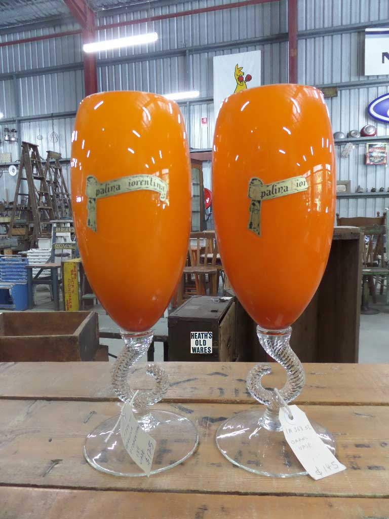Tall vintage orange vase for sale at Heaths Old Wares, Collectables, Antiques & Industrial Antiques, 19-21 Broadway, Burringbar NSW 2483 Ph 0266771181 open 7 days