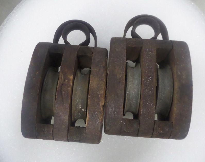 Industrial antique timber pulleys for sale at Heaths Old Wares, Collectables, Antiques & Industrial Antiques, 19-21 Broadway, Burringbar NSW 2483 Ph 0266771181 open 7 days