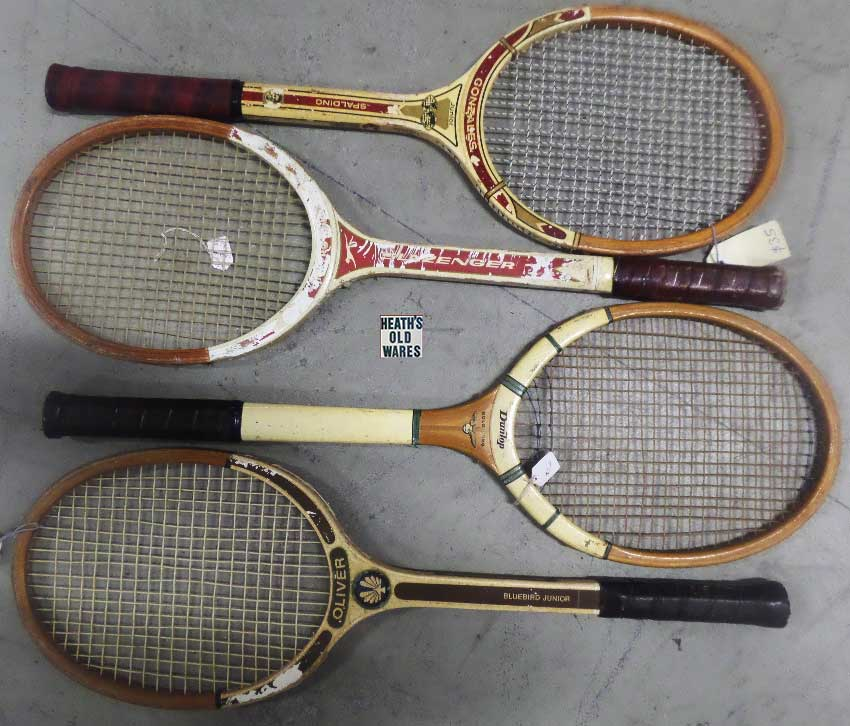 Vintage original Tennis Racquets for sale at HEATHS OLD WARES COLLECTABLES AND INDUSTRIAL ANTIQUES Heaths Old Wares, collectables and industrial antiques, 19-21 Broadway Burringbar NSW 2483 Open 7 days Ph: 0266771181