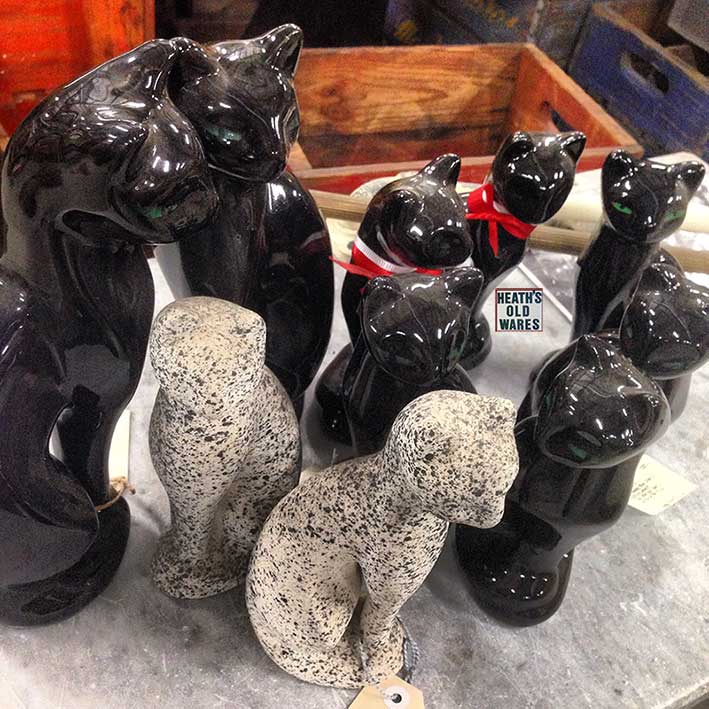 Vintage art deco black and speckled cats $30 each for sale at Heath's Old Wares, Collectables, Antiques & Industrial Antiques, 19-21 Broadway, Burringbar NSW 2483 Ph 0266771181 open 7 days