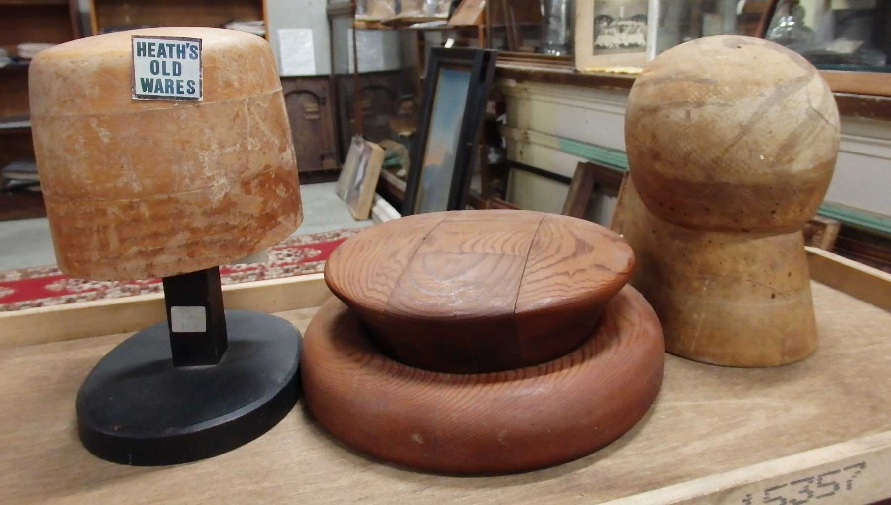 Timber hat blocks $250 and $135  for sale at Heaths Old Wares, Collectables, Antiques & Industrial Antiques, 19-21 Broadway, Burringbar NSW 2483 Ph 0266771181 open 7 days