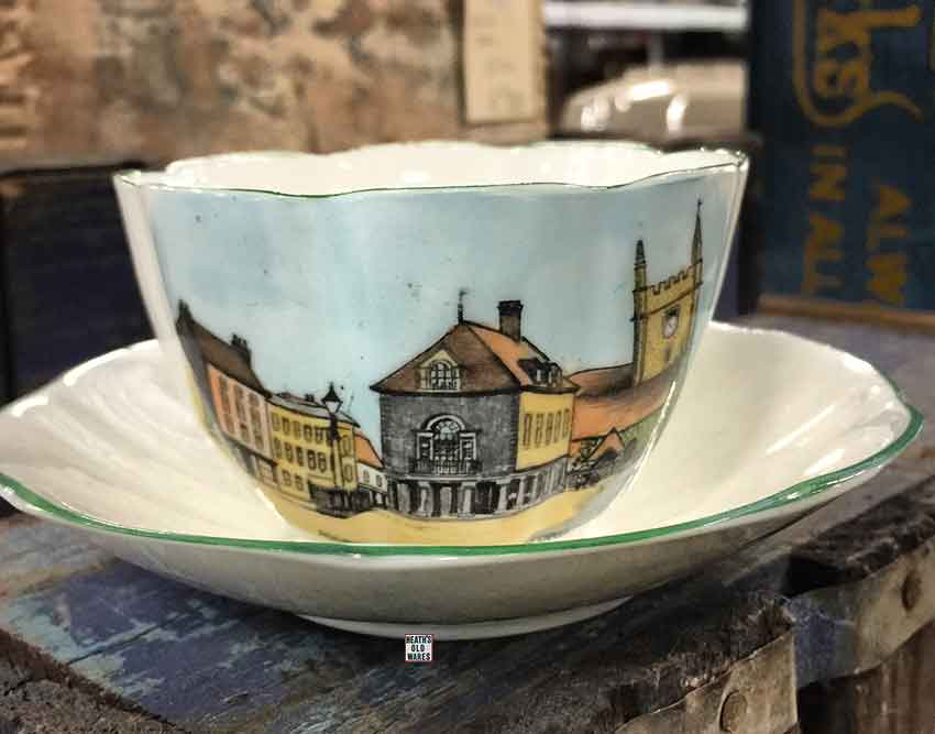 Marketplace Wallingford England souvenir cup and saucer $10 for sale at Heaths Old Wares, Collectables, Antiques & Industrial Antiques, 19-21 Broadway, Burringbar NSW 2483 Ph 0266771181 open 7 days