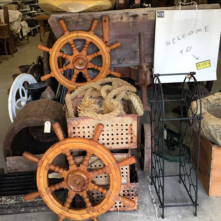 Timber ship steering wheels,$135 & $160 made for display  for sale at Heaths Old Wares, Collectables, Antiques & Industrial Antiques, 19-21 Broadway, Burringbar NSW 2483 Ph 0266771181 open 7 days