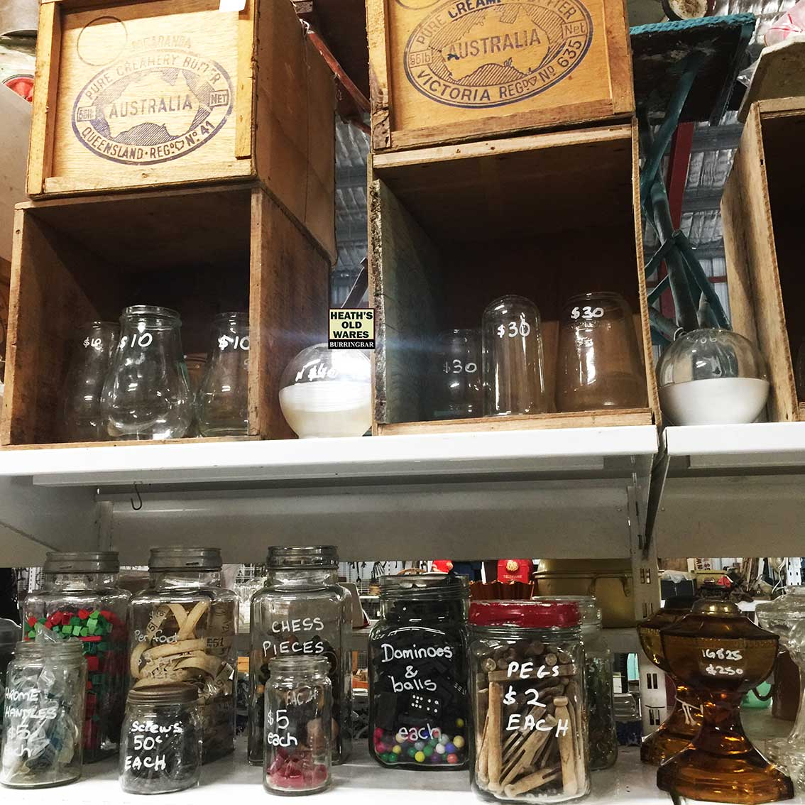 Antique butter boxes, lamp glasses for sale at Heaths Old Wares, Collectables, Antiques & Industrial Antiques, 19-21 Broadway, Burringbar NSW 2483 Ph 0266771181 open 7 days