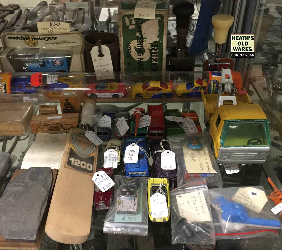 Collectable toys for sale at Heaths Old Wares, Collectables, Antiques & Industrial Antiques, 19-21 Broadway, Burringbar NSW 2483 Ph 0266771181 open 7 days