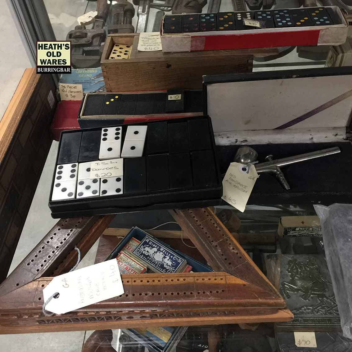old cribbage, dominoes and other bits and pieces for sale at Heaths Old Wares, Collectables, Antiques & Industrial Antiques, 19-21 Broadway, Burringbar NSW 2483 Ph 0266771181 open 7 days