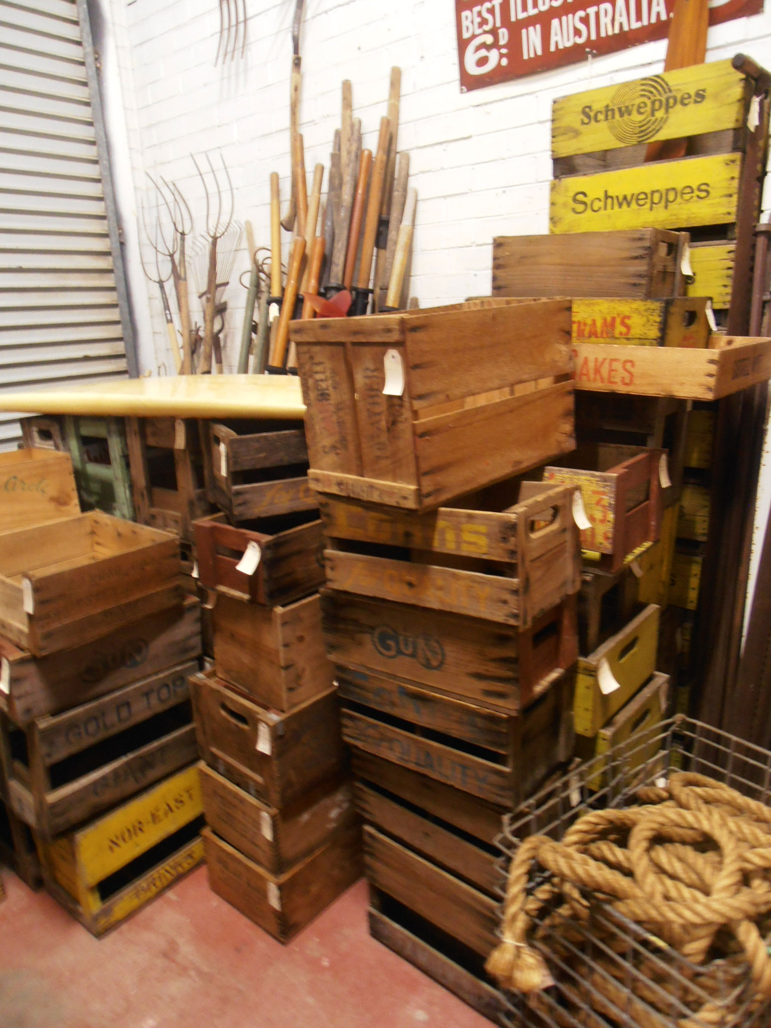antique and vintage Boxes and crates For sale at Heaths Old Wares, Antiques, Collectables and industrial antiques 12 station St bangalow NSW phone 0266872222 open 7 days