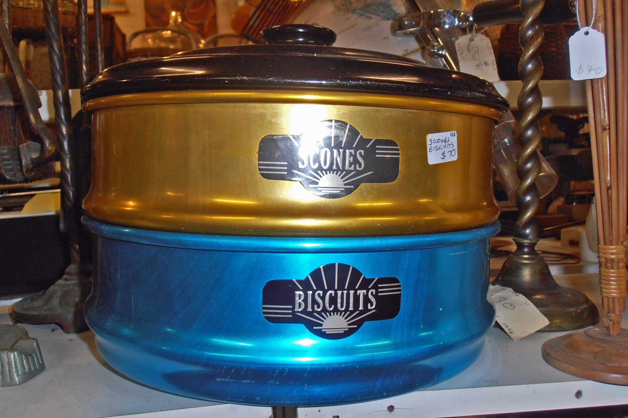 antique and vintage anodised cake and biscuit tin For sale at Heaths Old Wares, Antiques, Collectables and industrial antiques 12 station St bangalow NSW phone 0266872222 open 7 days