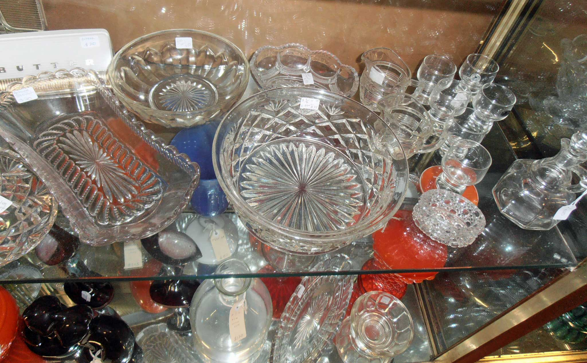 antique and vintage glass ware and crates For sale at Heaths Old Wares, Antiques, Collectables and industrial antiques 12 station St bangalow NSW phone 0266872222 open 7 days