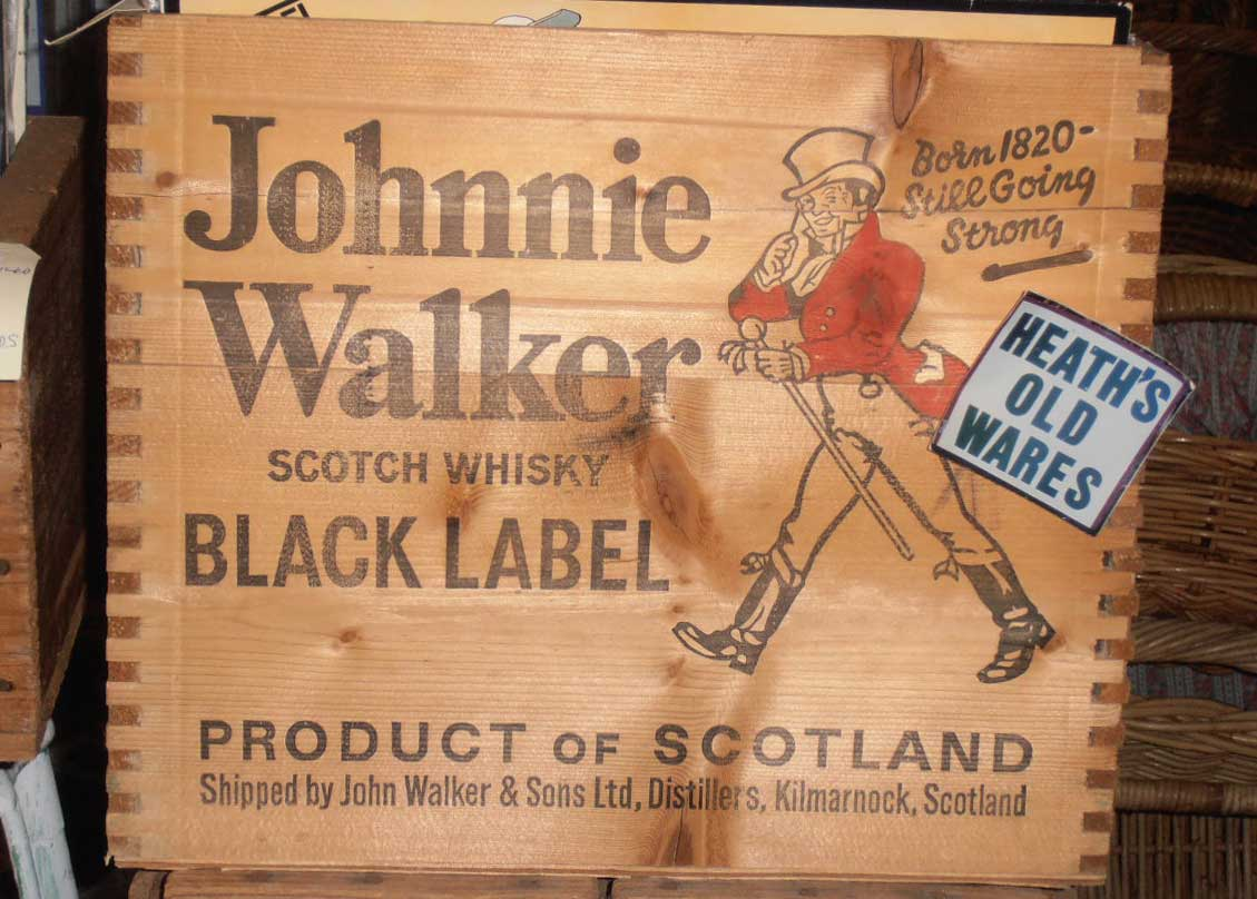 vintage johnny walker whiskey box for sale at Heaths Old Wares , Collectables Antiques and Industrial Antiques. 19-21 Broadway, Burringbar NSW Open 7 days 9am - 5pm phone 0266771181
