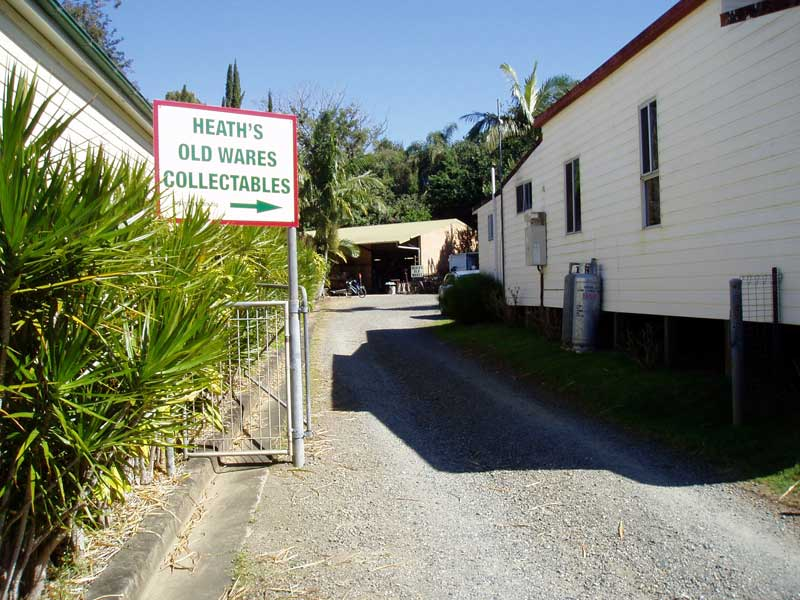 Welcome to Heaths Old Wares & Collectables, come on down the driveway, we have customer parking. Open 7 days 9 am to 5 pm ph 0266872222 we are at 12 Station Street Bangalow NSW 2479